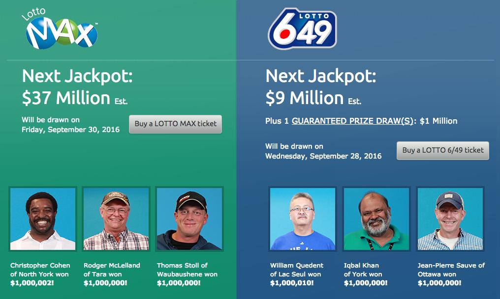 screen shot of 6 recent lottery winners
